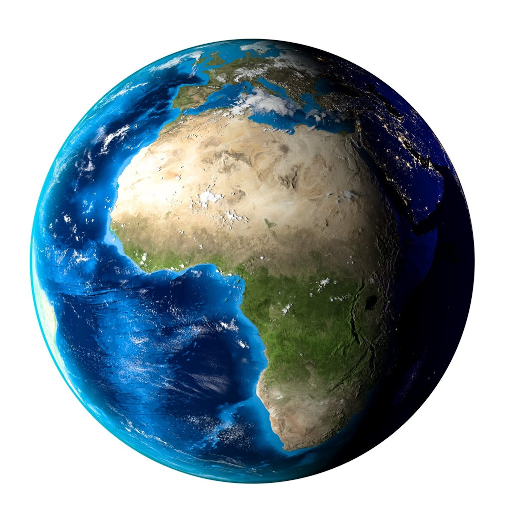 Planet Earth with clouds, Europe and Africa. White background